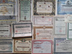 Asia, lot of 15 stocks and bonds  (China,  Indochine, Japan etc. 1884-1989)