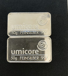 2x 50g Silver Bar, Umicore