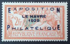 France 1929 – Philatelic exhibition of Le Havre, 2 f. (+5 f.) orange and blue-green, signed Roumet – Yvert no. 257A