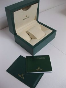 Rolex green case, new, with waves  motif, model 39179.02 with leather guarantee holder and booklet, outer box