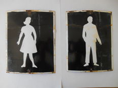 2 rare enamel toilet signs from 1950