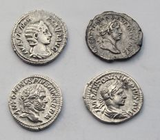 Empire romain - Lot de 4 Deniers romain en argent, Julia Mamae,  Traianus, Caracalla,  Elagabalus