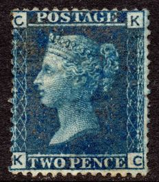 Great Britain 1868 - Queen Victoria 2d Blue, Stanley Gibbons 45 Plate 12