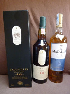 2 bottles - Macallan Fine Oak 12 years 0,7l  + Lagavulin aged 16 years   0,7l