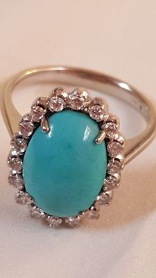 White gold ring from the 1950s with diamonds and natural untreated turquoise, 4 ct
