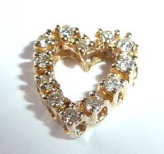 14 kt / 585 gold heart-shaped pendant with diamonds of approx. 0.30 ct all around the circumference *no reserve price*