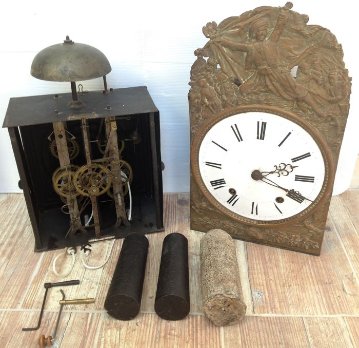 Lot of two mechanisms for pendulum grandfather clocks - Napoleon-era decoration - Period: 1830-1860.
