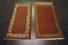 2 beautiful handwoven Oriental carpets Sarough Mir made in India 70 x 140 cm and 75 x 140 cm