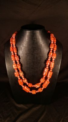 Huge Pink-Salmon color dyed Coral barrel shape beads Necklace, 307 grams