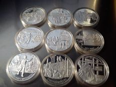 """The Netherlands – Various medals (2004) """"Netherlands at War"""" (9 different ones) – silver"""