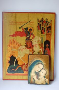 Dietz replica and Mary with child - 2 wooden icons - Germany - 20th century