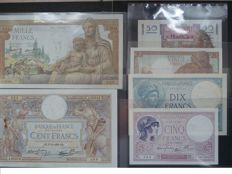 France - 5, 10, 20,50, 100 and 1000 Francs from 1925 to 1947