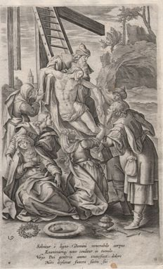 Maarten de Vos (1532 - 1603)  - The descent from the Cross -  published Gerard de Jode - Ca. 1580