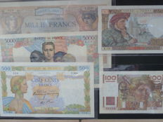France - 50, 100,500,1000 and 5000 Francs from 1938 to 1953