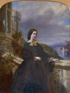 Unknown (19th century) - A portrait of a lady on a balcony overlooking a mountain landscape with lake