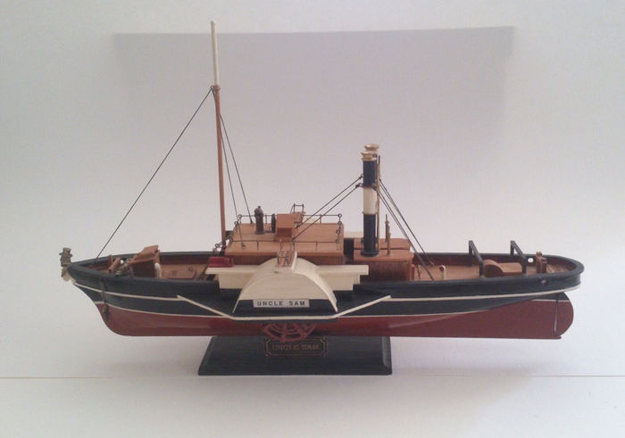 Origin Unknown Wooden Model American Paddle Boat Uncle Sam