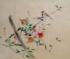 'Sparrows' and pomegranate very detailed scrollpainting on cloth, sealed and signed - Japan - first half 20th century