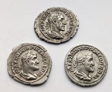 Empire romain - Lot de 3 deniers  Maximinus en argent, Anarchie Militaire (235 à 284 après JC)