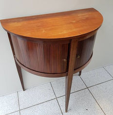 Walnut crescent table with shutter doors - the Netherlands - 1960s/70s