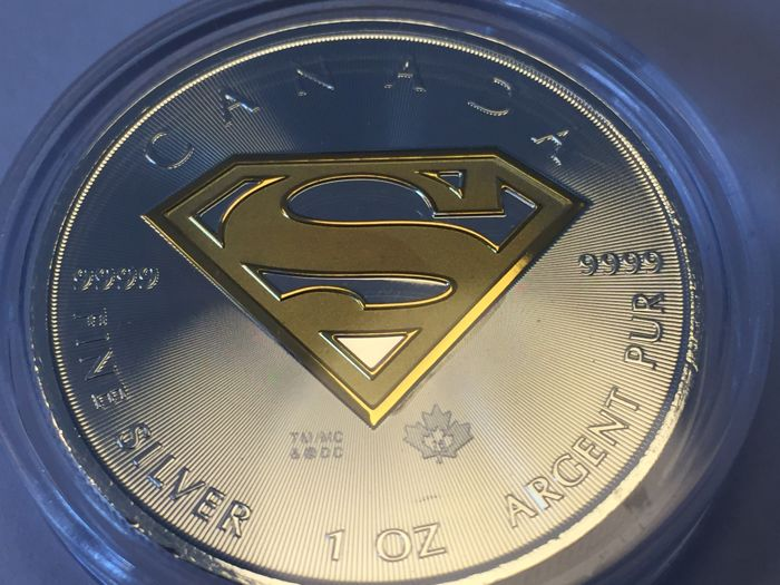 Canada - 1 oz 999 fine silver - silver coin - Superman - CAD $5 - Canada - partly gilded with 999 gold