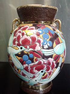 Boch Keramis - Raymond Henri Chevallier - Art Deco vase met with birds - Decor 5017