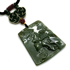 Type A green Jade pendant engraved with scenery of temple in mountains, with certificate