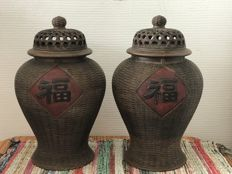 To pottery lidded pots - China - late 20th century