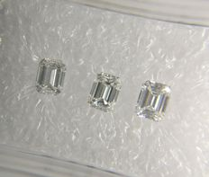 Lot of 3 Emerald cut diamonds total 0.62 ct E-F VVS2-VS1