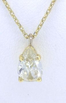 Pendant with pear cut diamond of 0.58 ct, with IGI certificate