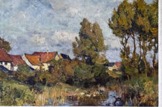 Carl II Jutz (1873 - 1915) - landscape with houses and spring basin