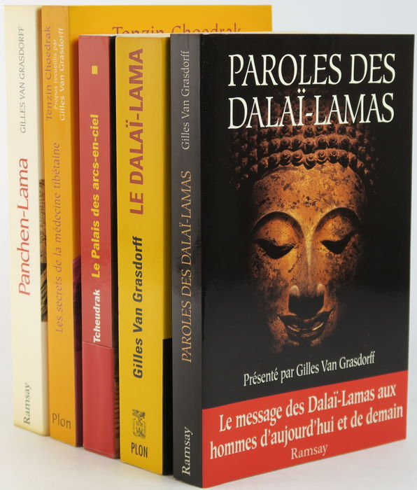 Lot With 5 Books About The Dalai Lama And Tibet In The