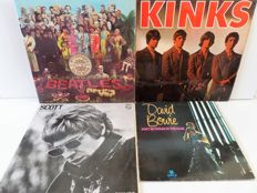 Lot of eight great pop and rock albums, incl. the Beatles, Kinks, David Bowie and others