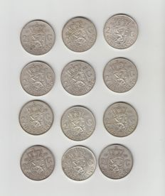 The Netherlands – 2½ guilder coins 1959/1966, Juliana (12 pieces) – silver
