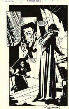 Dean Ormston - Original Art Plate - The Crow City of Angels #1 - Page 23 - signed - Kitchen Sink Press - (1996)