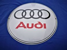 Large (50 cm) enamel logo AUDI in pristine condition