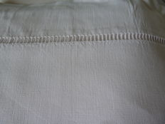 Thick white cotton sheet hand embroidered for a bed of 2 people