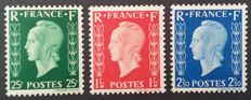 France 1942 – Marianne de Dulac, stamps not issued, signed by Calves with digital certificate – Yvert No. 701A-C