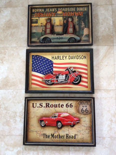 Lot with three 3D pub signs with the themes: transport, Harley, Porsche, Corvette, Route 66 - second half of the 20th century