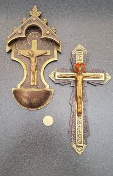 Art deco bronze crucifix and holy water container