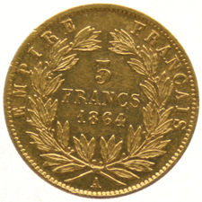 France – 5 francs 1864A -