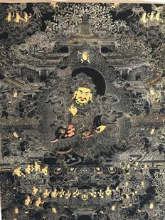 Black-gold Gele Jambhala Thangka-Tibet late 20th century