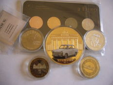Germany - 2 Euro 2012  (4 plated coins) - Precious Metal Set & Lot of 5 gold plated medals