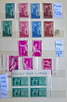 Italian Republic, 1948-1966 – Selection of stamps: services and ordinary post.
