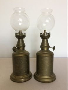 Two brass oil lamps France, first half 20th century.