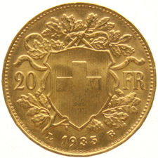 Switzerland – 20 francs 1935 LB Lingot, Bern Vreneli – gold