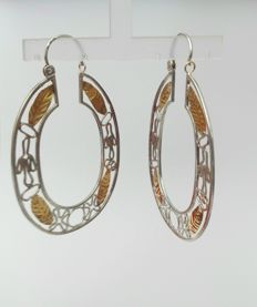 925 Silver Earrings with 18k gold add-ons - Unique piece
