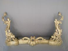 Fireplace set in gilded bronze - France - Louis XVI style - XIX century