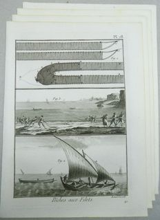 4 folio engravings Benard for Panckoucke - Sea Fishing - 'Peches aux Filets' 1793