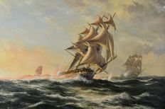 Henry French (20th century) - Gun smoke, three galleons battling at sea