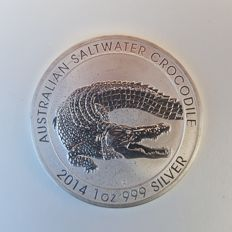 "Australia - dollar 2014 ""saltwater crocodile"" - 1 oz of silver"
